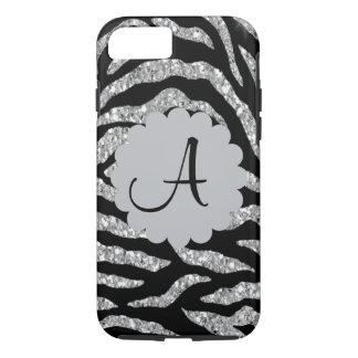 Faux Glitter Silver & Black Zebra Print Phone Case