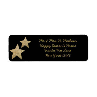 Faux Glitter Stars Christmas Label | Gold-Black