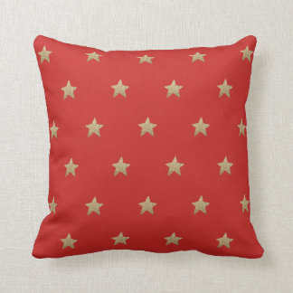 Faux Glitter Stars   Red Throw Pillow Cushion