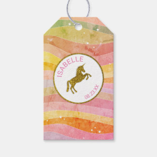 Faux Glitter Unicorn Stripes Gift Tags