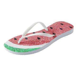 faux glitter watermelon slice thongs