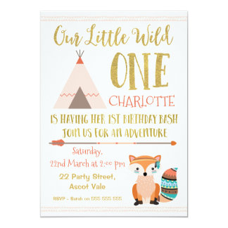 Faux Glitter Wild One Fox 1st Birthday Invitation