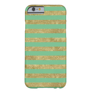 Faux Glittery Gold Mint Stripes Barely There iPhone 6 Case