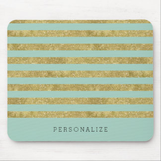 Faux Glittery Gold Mint Stripes Mouse Pad
