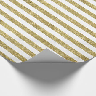Faux Glittery Gold Stripes Wrapping Paper