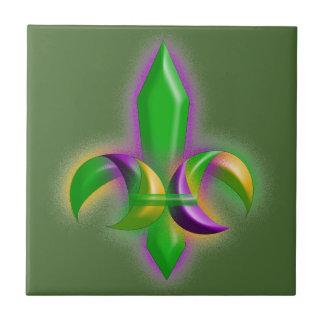 Faux Glow Fleur de lis Mardi Gras Green Tile
