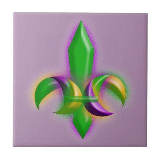 Faux Glow Fleur de lis Mardi Gras Party Tile