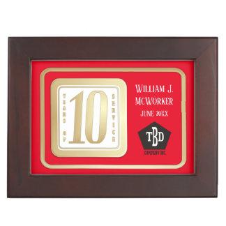 FAUX GOLD 10 year employee service award Keepsake Box