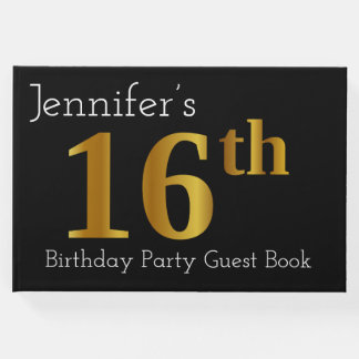 Faux Gold 16th Birthday Party Guest Book