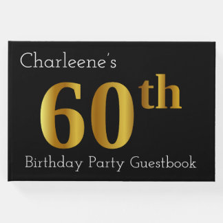 Faux Gold 60th Birthday Party Guestbook