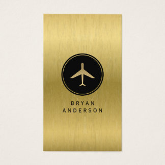 Faux Gold Airplane Business Card
