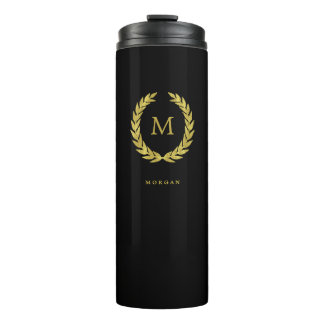 Faux Gold and Black | Laurel Wreath with Monogram Thermal Tumbler
