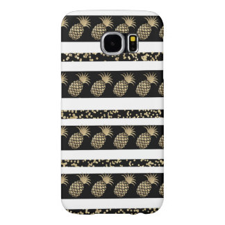 Faux gold and black polka dots pineapple stripe samsung galaxy s6 cases
