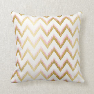 Faux Gold and Pink Ikat Chevron Pattern Pillow