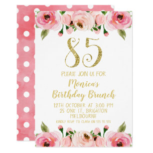 Faux Gold And Roses 85th Birthday Party Invitation