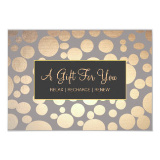 Faux Gold and Taupe Spa and Salon Gift Certificate 9 Cm X 13 Cm Invitation Card
