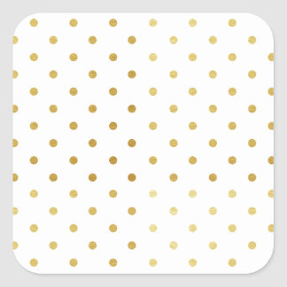 Faux Gold and White Polka Dots Square Sticker