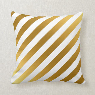 Faux Gold and White Stripes Pattern Elegant Throw Pillow