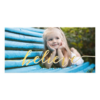 Faux Gold Believe | Holiday Photo Card