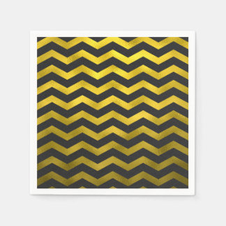 Faux Gold Black Foil Chevron Zig Zag Striped Disposable Serviette