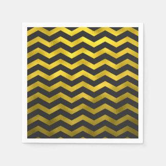 Faux Gold Black Foil Chevron Zig Zag Striped Disposable Serviettes