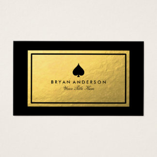 Faux Gold Black Spade Symbol Business Card
