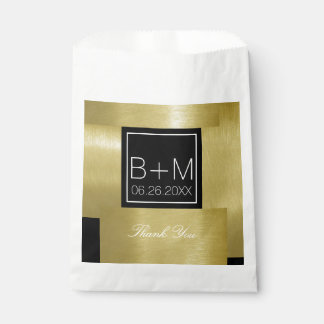 faux gold / black square monogram wedding thankyou favour bag