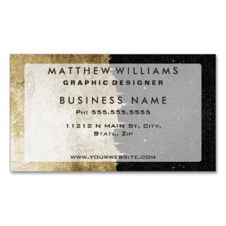 Faux Gold & Black Starry Night Brushstrokes Magnetic Business Cards