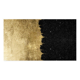 Faux Gold & Black Starry Night Brushstrokes Pack Of Standard Business Cards