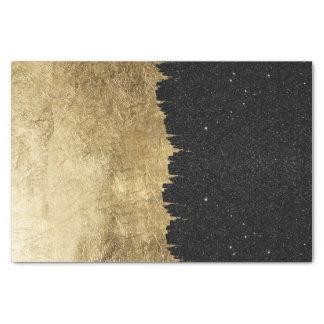 Faux Gold & Black Starry Night Brushstrokes Tissue Paper