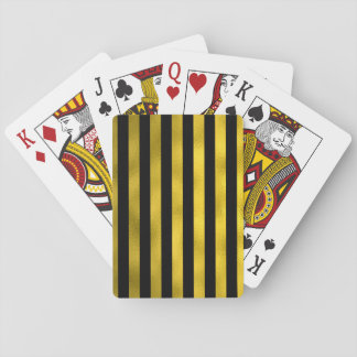 Faux Gold Black Vertical Stripes Wide Striped Playing Cards