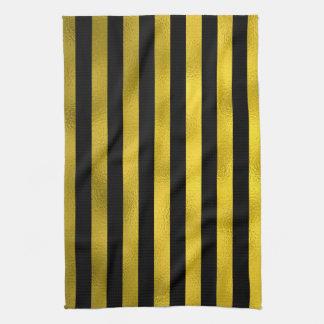 Faux Gold Black Vertical Stripes Wide Striped Tea Towel