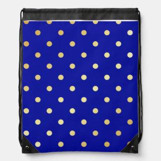 faux gold blue polka dots drawstring bag