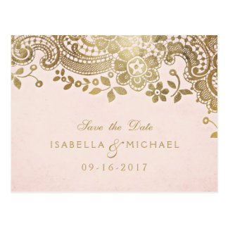 Faux gold blush elegant lace wedding save the date postcard