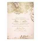 Faux gold blush elegant vintage lace wedding card