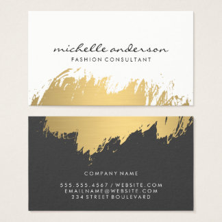 Faux Gold Brushed White Grey Business Card