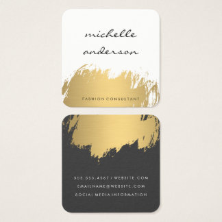 Faux Gold Brushed White Grey Square Business Card