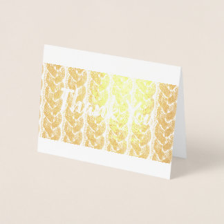 Faux gold cable knit thank you card