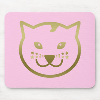 Faux Gold Cat Design - Custom background color Mouse Pad