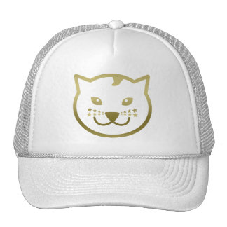 Faux Gold Cat Face - Custom background color Cap