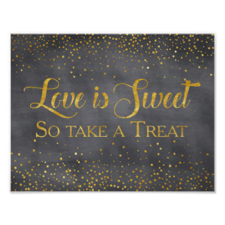 Faux Gold Chalkboard Confetti Wedding Dessert Sign