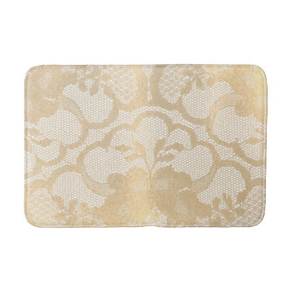Faux Gold Champagne  Lace Glam White Luxury Glam Bath Mat