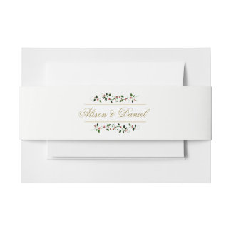 Faux Gold Christmas Holiday Holly Berry Invitation Belly Band