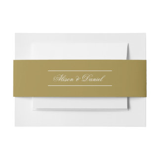 Faux Gold Christmas Holiday Landscape Invitation Belly Band