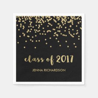Faux Gold Confetti Black Class of 2017 Graduation Disposable Napkin