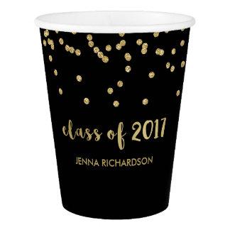 Faux Gold Confetti Black Graduation Class of 2017 Paper Cup