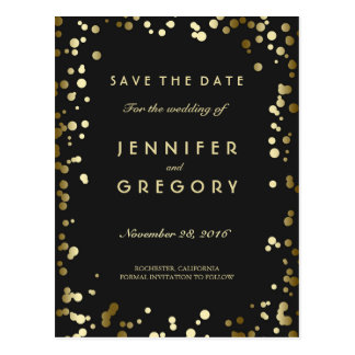 Faux Gold Confetti Black Save the Date Postcards