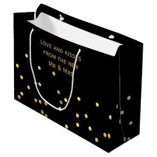 Faux Gold Confetti Matte Black Thank You Gift Bag