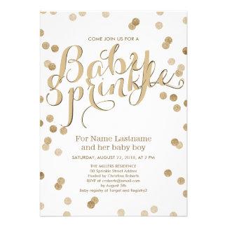 Faux Gold Confetti Modern Baby Sprinkle Invitation Invite