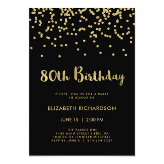 Faux Gold Confetti on Black | 80th Birthday Party Card
